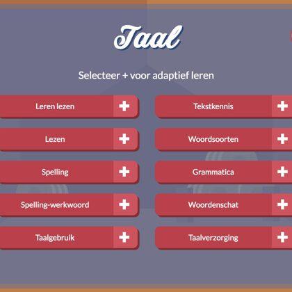 De menustructuur combineert vaste lessen van de leerdoelen en adaptief